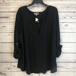 Charlotte Russe + plus criss cross front blouse